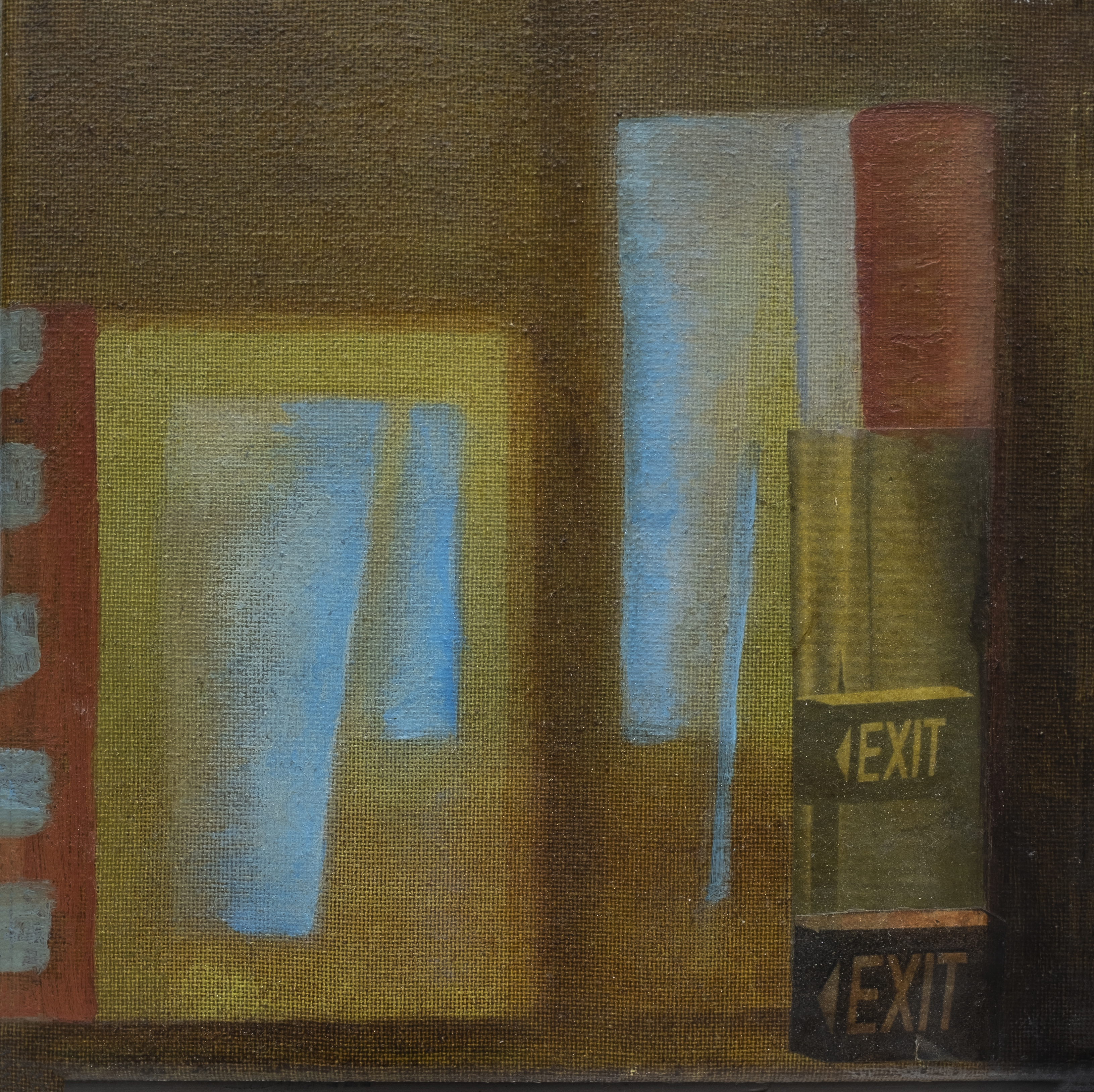 Exit left oil and mixed media on canvas